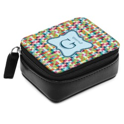 Retro Pixel Squares Small Leatherette Travel Pill Case (Personalized)