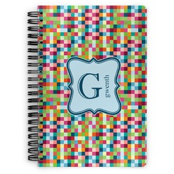 Retro Pixel Squares Spiral Bound Notebook (Personalized)