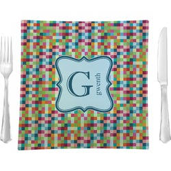 "Retro Pixel Squares 9.5"" Glass Square Lunch / Dinner Plate- Single or Set of 4 (Personalized)"