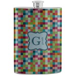 Retro Pixel Squares Stainless Steel Flask (Personalized)