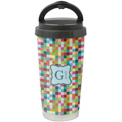 Retro Pixel Squares Stainless Steel Travel Mug (Personalized)