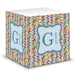 Retro Pixel Squares Sticky Note Cube (Personalized)