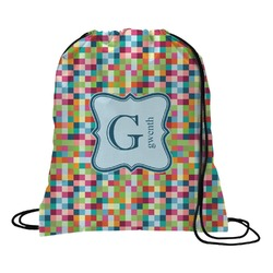 Retro Pixel Squares Drawstring Backpack (Personalized)