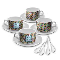 Retro Pixel Squares Tea Cup - Set of 4 (Personalized)