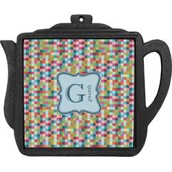 Retro Pixel Squares Teapot Trivet (Personalized)