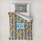 Retro Pixel Squares Toddler Bedding w/ Name and Initial
