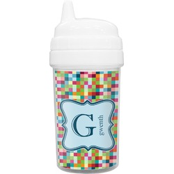 Retro Pixel Squares Toddler Sippy Cup (Personalized)