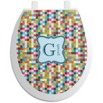 Retro Pixel Squares Toilet Seat Decal (Personalized)