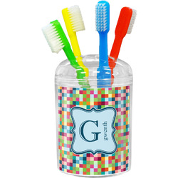 Retro Pixel Squares Toothbrush Holder (Personalized)