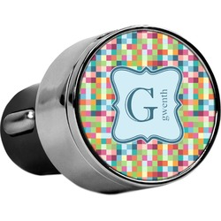 Retro Pixel Squares USB Car Charger (Personalized)
