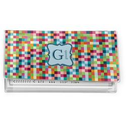 Retro Pixel Squares Vinyl Checkbook Cover (Personalized)