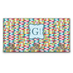 Retro Pixel Squares Wall Mounted Coat Rack (Personalized)