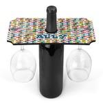 Retro Pixel Squares Wine Bottle & Glass Holder (Personalized)