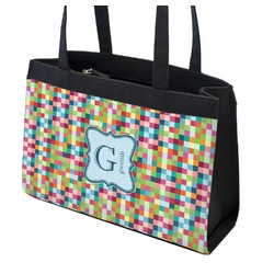 Retro Pixel Squares Zippered Everyday Tote (Personalized)