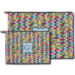 Retro Pixel Squares Zipper Pouch (Personalized)