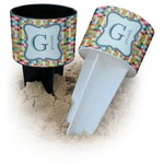 Retro Pixel Squares Beach Spiker Drink Holder (Personalized)