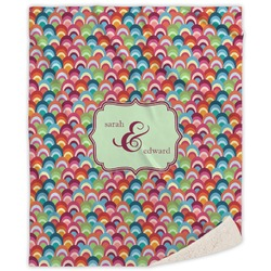 Retro Fishscales Sherpa Throw Blanket (Personalized)