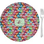 "Retro Fishscales Glass Appetizer / Dessert Plates 8"" - Single or Set (Personalized)"