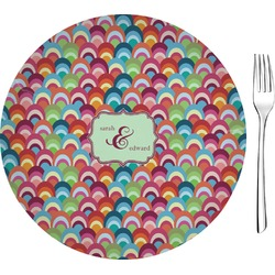 "Retro Fishscales 8"" Glass Appetizer / Dessert Plates - Single or Set (Personalized)"