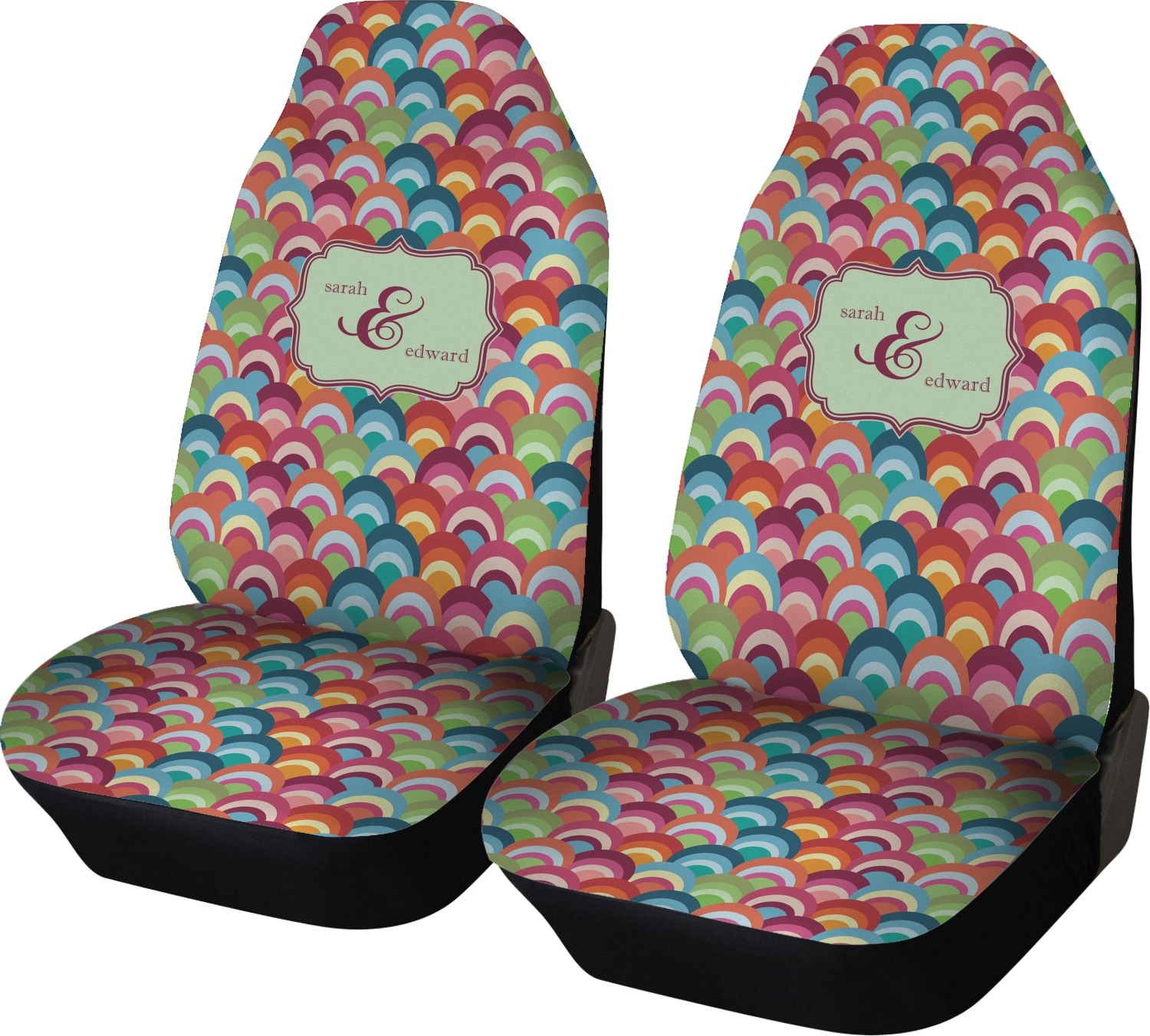 Retro Fishscales Car Seat Covers (Set Of Two