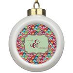Retro Fishscales Ceramic Ball Ornament (Personalized)