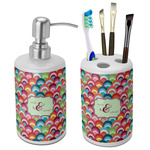 Retro Fishscales Ceramic Bathroom Accessories Set (Personalized)