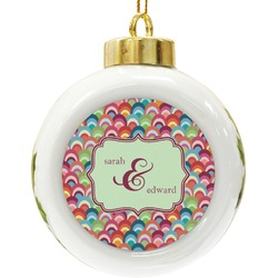 Retro Fishscales Ceramic Ball Ornament (Personalized)