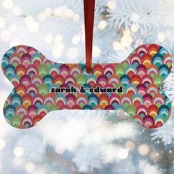 Retro Fishscales Ceramic Dog Ornaments w/ Couple's Names