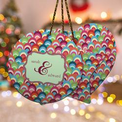Retro Fishscales Ceramic Ornament w/ Couple's Names
