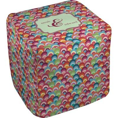 Retro Fishscales Cube Pouf Ottoman (Personalized)