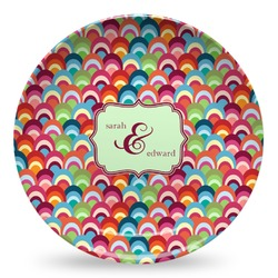 Retro Fishscales Microwave Safe Plastic Plate - Composite Polymer (Personalized)