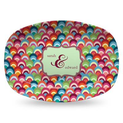 Retro Fishscales Plastic Platter - Microwave & Oven Safe Composite Polymer (Personalized)