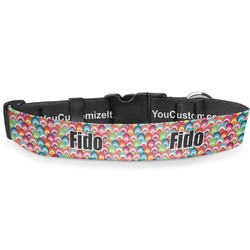 "Retro Fishscales Deluxe Dog Collar - Large (13"" to 21"") (Personalized)"