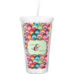 Retro Fishscales Double Wall Tumbler with Straw (Personalized)