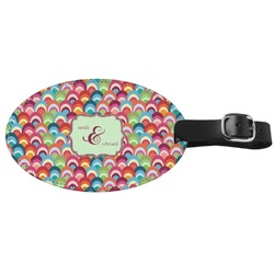 Retro Fishscales Genuine Leather Oval Luggage Tag (Personalized)
