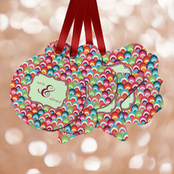 Retro Fishscales Metal Ornaments - Double Sided w/ Couple's Names