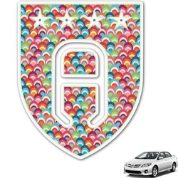 Retro Fishscales Monogram Car Decal (Personalized)