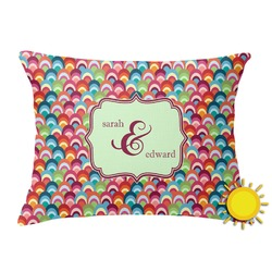 Retro Fishscales Outdoor Throw Pillow (Rectangular) (Personalized)