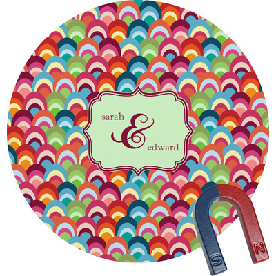 Retro Fishscales Round Magnet (Personalized)