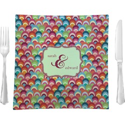 Retro Fishscales Square Dinner Plate (Personalized)