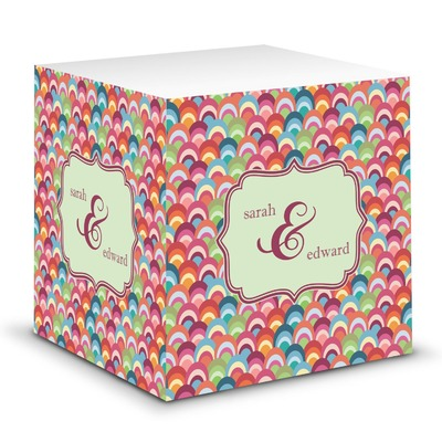 Retro Fishscales Sticky Note Cube (Personalized)