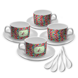 Retro Fishscales Tea Cup - Set of 4 (Personalized)
