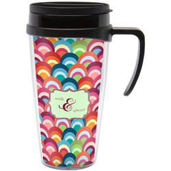 Retro Fishscales Travel Mug with Handle (Personalized)