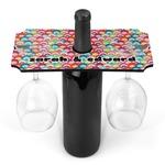 Retro Fishscales Wine Bottle & Glass Holder (Personalized)