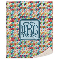 Retro Triangles Sherpa Throw Blanket (Personalized)