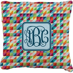 """Retro Triangles Faux-Linen Throw Pillow 16"""" (Personalized)"""