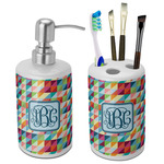 Retro Triangles Bathroom Accessories Set (Ceramic) (Personalized)
