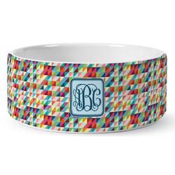 Retro Triangles Ceramic Dog Bowl (Personalized)