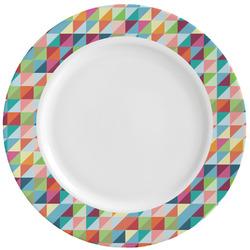 Retro Triangles Ceramic Dinner Plates (Set of 4) (Personalized)