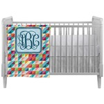 Retro Triangles Crib Comforter / Quilt (Personalized)